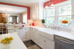 Zodiaq Quartz Coarse Carrara Farmhouse sink Mouser Cabinetry Newtown Square PA