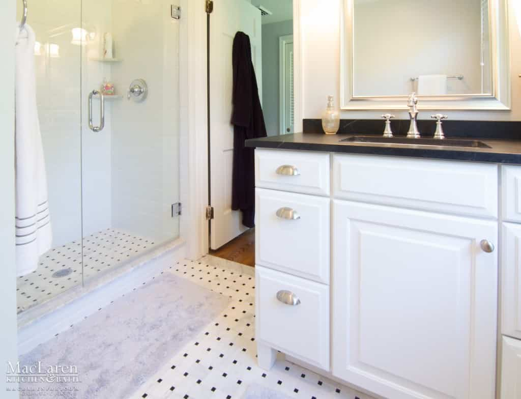 Classic black white master bathroom newtown square pa for Classic master bathrooms