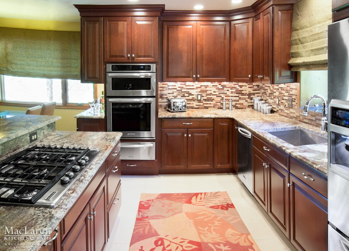 Kitchen Backsplash With Cherry Cabinets contemporary kitchen backsplash tile cherry cabinets gold granite