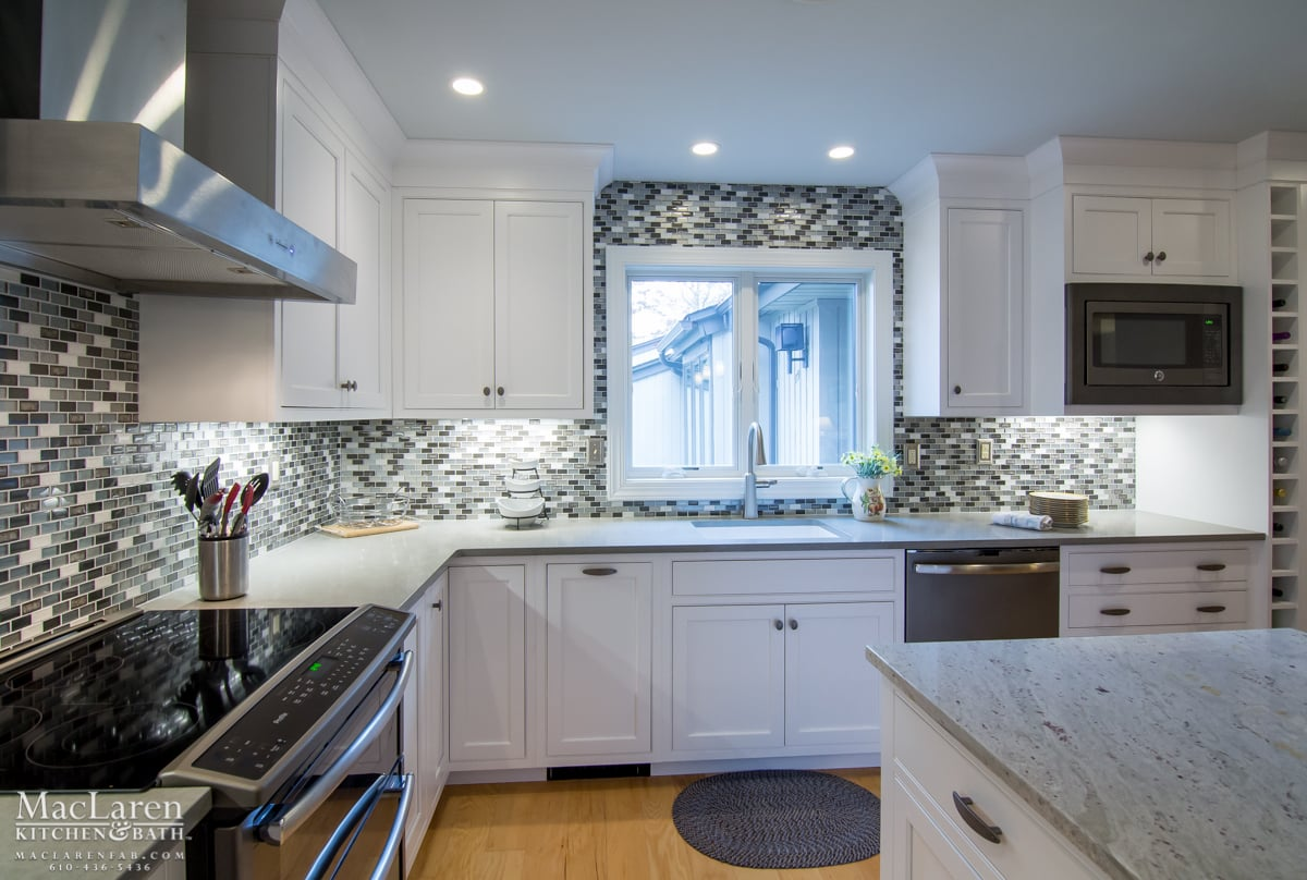 White Cabinetry With Zodiaq Dove Grey Perimeter Countertops